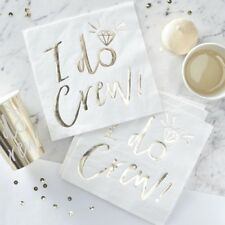 White Gold I Do Crew Paper Napkins Serviettes Hen Party Tableware Disposable x16