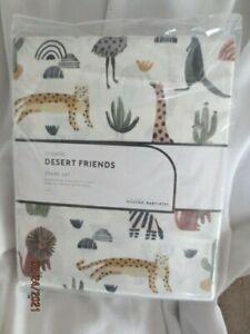 Pottery barn Kids Desert Friends Sheet Set QUEEN lion zebra giraffe cactus NIP