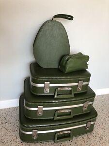 5 Pc Vintage 60's MCM Avocado Green Luggage Suitcase Set Samsonite Style CLEAN!