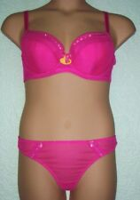 'GORGEOUS' PINK OR PURPLE MESH BRA SET 38D 38DD 38E & MATCHING THONG OR SHORT
