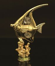24K GOLD PLATED ANGEL FISH HAND ENAMELED PEWTER BASE STUDDED SWAROVSKI ELEMENTS