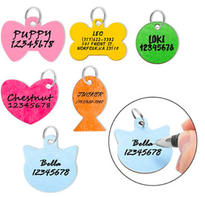 Pet ID Tag Personalized - 6 Pack Wooden Handwriting Name Tags for Dogs, Engraved