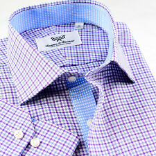 Mens Lilac Check Professional Formal Business Shirts With Elegant Inner Lining
