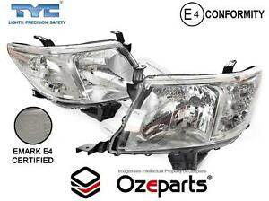 Pair LH+RH Head Light Lamp Chrome For Toyota Hilux 2011~2015 2WD 4WD Ute