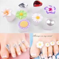 8pcs Toe Silicone Separator Nail Art DIY Pedicure Tool Flower Waterdrop Crystal