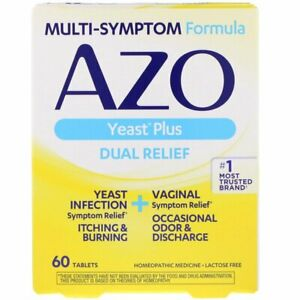 🦋 AZO Yeast Plus Dual Relief 60 Tablets Vaginal Thrush Candida Burning Itch 🦋