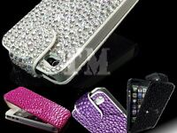Luxury Crystal Bling Sparkle Diamond Gem Flip Leather Case Cover for Various