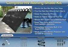 RV Awning Shade Kit Black Motorhome Awning Screen Trailer Kit 12X24