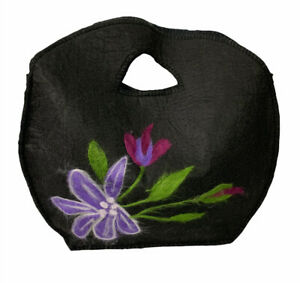 "Black Felted Handbag Purple Floral Design Snap Closure Flowers 14 x 14"" Lined"