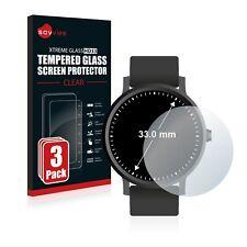 3x Schutzpanzer Glasfolie für Armbanduhren (Kreisrund, Durchmesser: 33 mm)