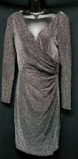 RALPH LAUREN Womens Black Silver NWT V-Neck Ruched Waist Dress Size 8