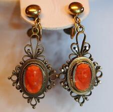 Antique Victorian Red Coral Cameo Dangle/Drop Screwback Earrings 14K Gold