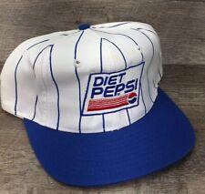 Vintage Snapback Trucker Hat Diet Pepsi Soda Pin Stripes Advertising Blue Cap F2