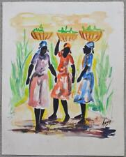 HAITIAN THONY ORIGINAL BLACK WATERCOLOR PAINTING HAITI WOMEN BASKET CARRIERS