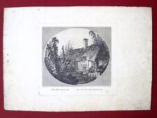 Eau forte originale, Le champ de Houblon, Giovanni Gabrieli Ecole anglaise XVIe