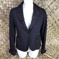 Marc Jacobs Womens Sz 4 Deep Purple Blazer Jacket Silk Trim One Button