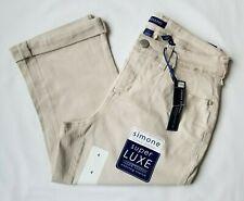 BANDOLINO Women's Khaki Capris Size 4 Simone Skimmer Creamstone Cuff Hem Jeans