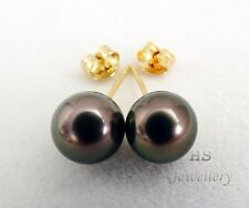 HS Coppery Pink Peacock Tahitian Cultured Pearl 9.19mm Stud Earrings 14KYG Top