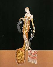 "ORIGINALE VINTAGE Erte Art Deco Print ""GIULIETTA"" FASHION BOOK Piastra"