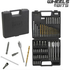 Kinzo 57 Pcs Drill Bits Screwdriver Set HSS Woodhole Metal Masonry INC CASE