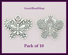 10 Antique Silver Colour 24 x 20mm Pretty Butterfly Larger Bug Charms