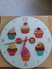 Glass Wall Clock - cupcake design - battery operated. Brand New.