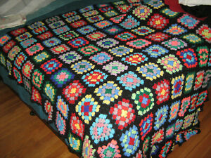"""Colorful Vintage Granny Squares AFGHAN Crochet Throw 60"""" x 90"""""""
