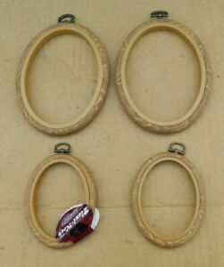 """4 Vtg Oval Brown Flexi-Hoop Frame Set Embroidery Hoops 2-4"""" & 2-6"""" New (1 W/Tag)"""