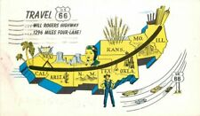 Route 66 Map Highway Russell Stationery Company 1957 Postcard 20-9240