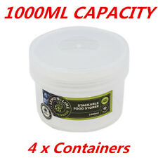 1000ML Short Screw Top Stack-able Plastic Food Storage Container Box Tubs Lid WM