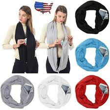 Womens Men Convertible Infinity Circle Loop Scarf with Hidden Zip Pocket Scarves