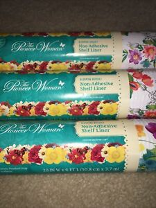 """3x Pioneer Woman Blooming Bouquet Non Adhesive Shelf Liners 3 Rolls 20"""" x 6ft"""