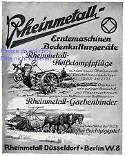 Rheinmetall Pflug Garbenbinder XL Reklame 1927 Erntemaschine Landwirtschaft +