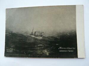 """WW1 German Navy Postcard """"Minensuchboot bei schwerem Wetter"""""""