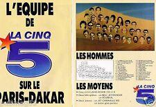 Publicité advertising 1988 (2 pages) L'Equipe de la 5 sur Le Paris Dakar