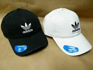 NEW adidas Originals Baseball Cap Hat Trefoil Logo White/Black Relaxed Strapback