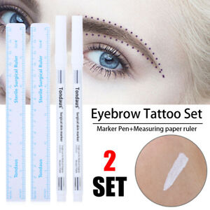 2Sets White Microblading Surgical Skin Marker Pen Tattoo Permanent Makeup Marker
