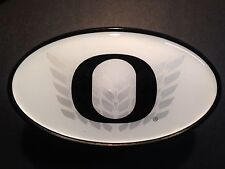 """Hitch Cover - University of Oregon WHITE with CHROME WINGS & BLACK """"O"""""""