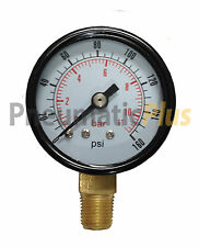 "PneumaticPlus Air Pressure Gauge 1-1/2"" Dial, Lower Mount, 0 - 160 PSI, 1/8"" NPT"