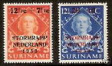Suriname  295-296 Stormrampzegels 1953  LUXE postfris