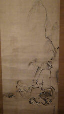 Antique 19C Japanese Meiji Sumi Scroll Painting Of Immortal In Landscape