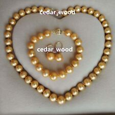 AAA 12-14 mm south sea gold bracelet pearl necklace Earrings 14k gold clasp set