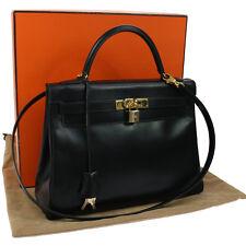 Authentic HERMES KELLY 32 2way Hand Bag Black Box Calf Vintage GHW K07582