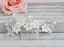 Crystal Hair Comb Pearls Bridal Accessories Floral Wedding Headdress 1 Piece