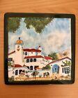 "Vintage Ceramic Art Tile Hand painted Mediterranean Village Scene 6'' x 6"""