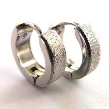 Creolen Ohrringe 12 mm Edelstahl Ohrschmuck frosted look exclusive earrings