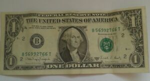 One Dollar Federal Reserve Note Series 1988 A $1 Dollar Note B 56992766 T USA