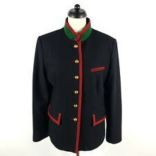Lodenfrey Janker Damen Gr. 44 Schwarz Rot Grün Wolle Angora Trachtenjacke Jacke