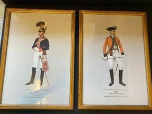 2 Vintage Gilt Framed Military Uniformed Officer Prints by P.H. Smitherman