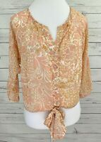 Forever 21 Top Womens Small S Pink Floral 3/4 Sleeve Tie Front Sheer Blouse